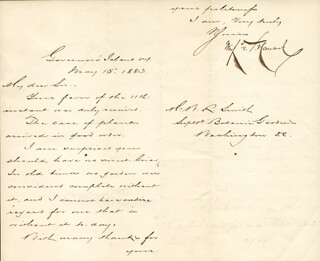 MAJOR GENERAL WINFIELD SCOTT HANCOCK - MANUSCRIPT LETTER WITH AUTOGRAPH NOTE SIGNED 05/15/1883