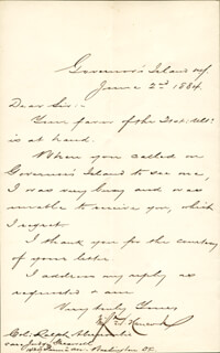 MAJOR GENERAL WINFIELD SCOTT HANCOCK - MANUSCRIPT LETTER SIGNED 06/02/1884