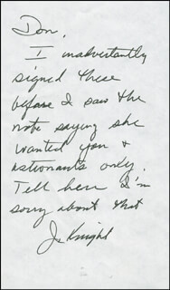 Autographs: JACK KNIGHT - AUTOGRAPH NOTE SIGNED