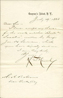 MAJOR GENERAL WINFIELD SCOTT HANCOCK - MANUSCRIPT LETTER SIGNED 07/19/1883