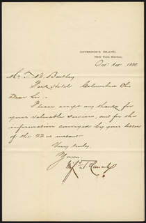 MAJOR GENERAL WINFIELD SCOTT HANCOCK - MANUSCRIPT LETTER SIGNED 10/01/1880