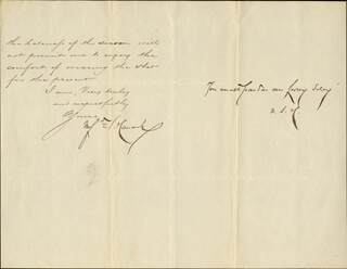 MAJOR GENERAL WINFIELD SCOTT HANCOCK - MANUSCRIPT LETTER WITH AUTOGRAPH NOTE SIGNED 09/22/1880