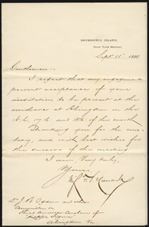 MAJOR GENERAL WINFIELD SCOTT HANCOCK - MANUSCRIPT LETTER SIGNED 09/11/1880