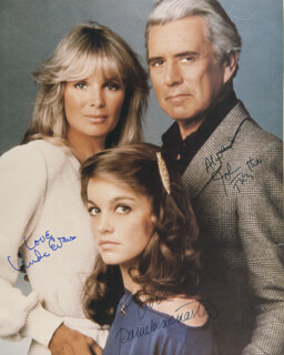 DYNASTY TV CAST - AUTOGRAPHED SIGNED PHOTOGRAPH CO-SIGNED BY: PAMELA SUE MARTIN, JOHN FORSYTHE, LINDA EVANS