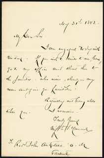 MAJOR GENERAL WINFIELD SCOTT HANCOCK - AUTOGRAPH LETTER SIGNED 05/31/1882