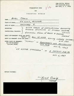 NOEL CRAIG - AUTOGRAPH RESUME SIGNED