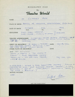 CLIFFORD ROSE - AUTOGRAPH RESUME SIGNED