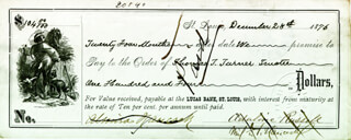 MAJOR GENERAL WINFIELD SCOTT HANCOCK - PROMISSORY NOTE SIGNED 12/28/1876 CO-SIGNED BY: ALMIRA RUSSELL HANCOCK