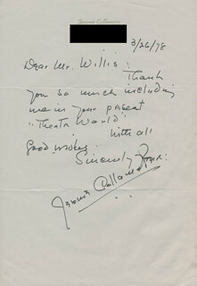 JEROME COLLAMORE - AUTOGRAPH LETTER SIGNED 03/26/1978