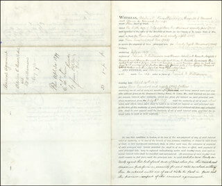 MAJOR GENERAL WINFIELD SCOTT HANCOCK - DOCUMENT SIGNED 04/26/1879 CO-SIGNED BY: ALMIRA RUSSELL HANCOCK, ISAIAH WILLIAMSON, BRIGADIER GENERAL RICHARD ARNOLD, ADALINE E. RUSSELL