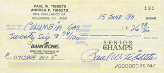 ENOLA GAY CREW (PAUL W. TIBBETS) - AUTOGRAPHED SIGNED CHECK 06/15/1990