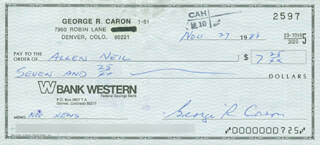 ENOLA GAY CREW (GEORGE R. CARON) - AUTOGRAPHED SIGNED CHECK 11/27/1988