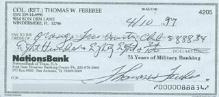 ENOLA GAY CREW (COLONEL THOMAS W. FEREBEE) - AUTOGRAPHED SIGNED CHECK 04/10/1997