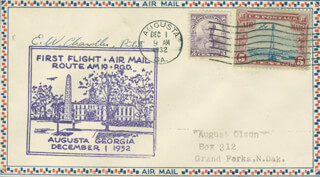 EVERETT W. CHANDLER - COMMEMORATIVE ENVELOPE SIGNED CIRCA 1932