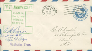 LARRY HARRIS - COMMEMORATIVE ENVELOPE SIGNED CIRCA 1929 CO-SIGNED BY: E.W. BOICE