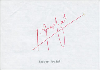 Autographs: PRESIDENT YASSER ARAFAT (PALESTINIAN NATIONAL AUTHORITY) - SIGNATURE(S) CIRCA 1988 CO-SIGNED BY: SAMI MUSALLAM
