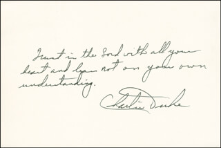 Autographs: BRIGADIER GENERAL CHARLES M. DUKE JR. - AUTOGRAPH NOTE SIGNED