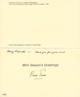 Autographs: SIR VIVIAN E. FUCHS - CHRISTMAS / HOLIDAY CARD SIGNED 1989