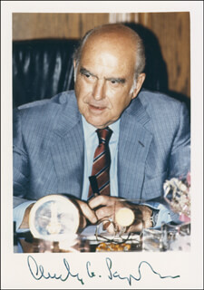 PRIME MINISTER ANDREAS G. PAPANDREOU (GREECE) - AUTOGRAPHED SIGNED PHOTOGRAPH CIRCA 1988 CO-SIGNED BY: ANGELA KOKKOLA