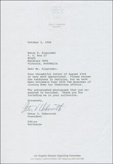 PETER UEBERROTH - TYPED LETTER SIGNED 10/02/1984