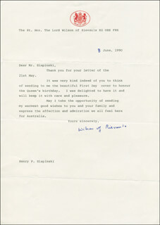PRIME MINISTER HAROLD WILSON (GREAT BRITAIN) - TYPED LETTER SIGNED 06/08/1990