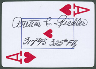Autographs: COLONEL ARTHUR C. FIEDLER JR. - PLAYING CARD SIGNED