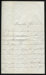 Autographs: ISABELLE MARCHIONESS DE ROCHAMBEAU DUTEY-HARISPE - AUTOGRAPH LETTER SIGNED 11/07/1881 CO-SIGNED BY: MAJOR GENERAL WINFIELD SCOTT HANCOCK