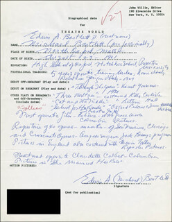 MICHAEL BARTLETT - AUTOGRAPH RESUME SIGNED
