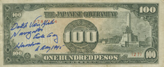 Autographs: ENOLA GAY CREW (THEODORE VAN KIRK) - CURRENCY SIGNED