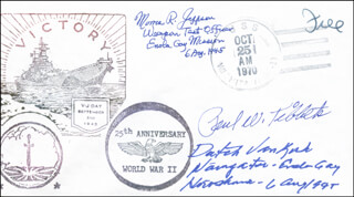 Autographs: ENOLA GAY CREW (PAUL W. TIBBETS) - COMMEMORATIVE ENVELOPE SIGNED CO-SIGNED BY: ENOLA GAY CREW (THEODORE VAN KIRK), ENOLA GAY CREW (MORRIS JEPPSON)