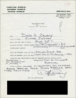 DAVID H. CANARY - AUTOGRAPH RESUME SIGNED