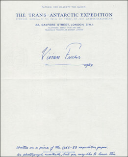 Autographs: SIR VIVIAN E. FUCHS - AUTOGRAPH NOTE SIGNED 1989