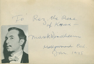 MAREK WINDHEIM - AUTOGRAPH NOTE SIGNED 01/1945
