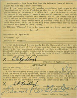 Autographs: CHARLES A. LINDBERGH - DOCUMENT DOUBLE SIGNED 12/29/1931 CO-SIGNED BY: GOVERNOR HAROLD HOFFMAN