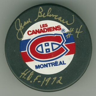 JEAN BELIVEAU - HOCKEY PUCK SIGNED