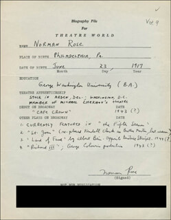 NORMAN ROSE - AUTOGRAPH RESUME SIGNED