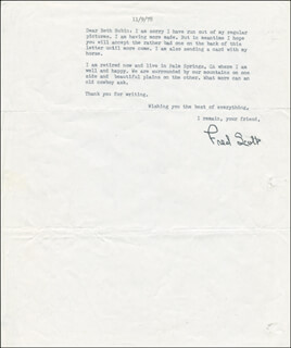 FRED L. THE SINGING BUCKAROO SCOTT - TYPED LETTER MULTI-SIGNED 11/09/1978