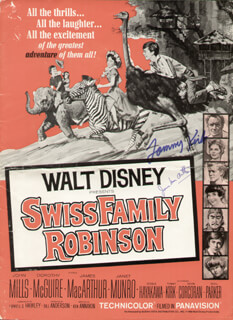 SWISS FAMILY ROBINSON MOVIE CAST - PROGRAM SIGNED CO-SIGNED BY: TOMMY KIRK, JAMES MacARTHUR