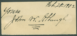 JOHN W. ALBAUGH - AUTOGRAPH SENTIMENT SIGNED 02/28/1902