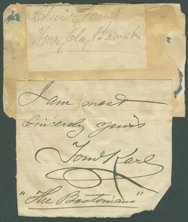 HENRY CLAY BARNABEE - AUTOGRAPH SENTIMENT SIGNED CO-SIGNED BY: HENRY KYRLE BELLEW, CORA URQUHART BROWN POTTER, TOM (THOMAS O'CARROLL) KARL