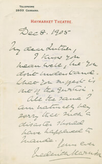 FREDERICK HARRISON - AUTOGRAPH SENTIMENT SIGNED 12/08/1905