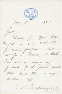 JOHN HOLLINGSHEAD - AUTOGRAPH LETTER SIGNED 05/05/1887