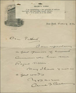 Autographs: SIR CHARLES BLAKE COCHRAN - AUTOGRAPH LETTER SIGNED 02/19/1926