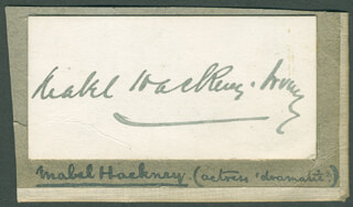 MABEL HACKNEY - AUTOGRAPH