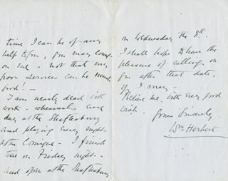 WILLIAM HERBERT - AUTOGRAPH LETTER SIGNED