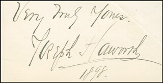 JOSEPH HAWORTH - AUTOGRAPH SENTIMENT ON CALLING CARD SIGNED 1898