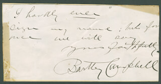 BARTLEY CAMPBELL - AUTOGRAPH NOTE SIGNED