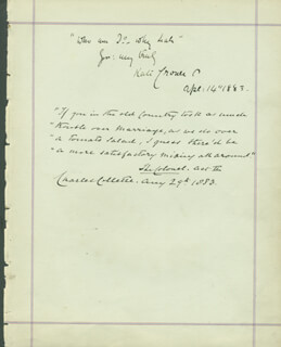 CHARLES COLLETTE - AUTOGRAPH LETTER SIGNED 08/29/1883 CO-SIGNED BY: KATE JOSEPHINE BATEMAN