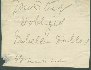 ISABELLA GLYN DALLAS - AUTOGRAPH SENTIMENT SIGNED