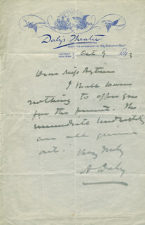 AUGUSTIN DALY - AUTOGRAPH LETTER SIGNED 10/09/1893